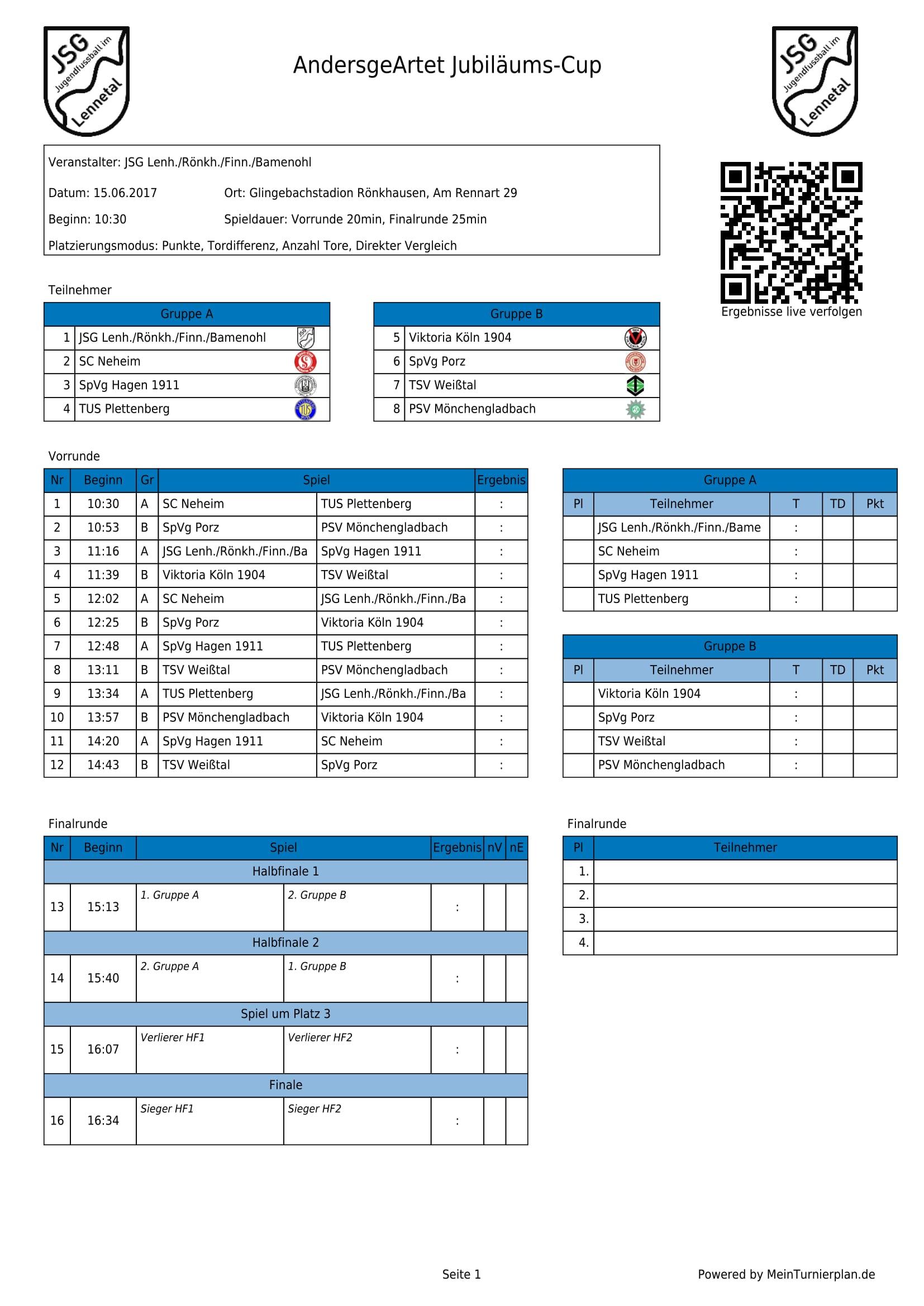 Spielplan Fronleichnamturnier AndersgeArtet Jubilaeums Cup 1